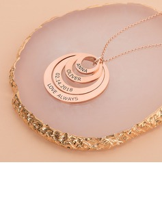 Custom 18k Rose Gold Plated Engraving/Engraved Circle Family Four Name Necklace Circle Necklace With Kids Names - Birthday Gifts Mother's Day Gifts