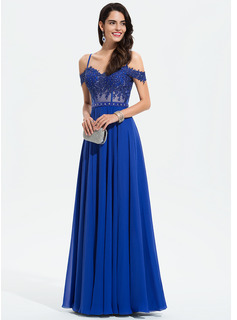 A-Line Sweetheart Off-the-Shoulder Floor-Length Chiffon Prom Dresses With Beading Sequins