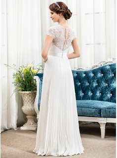 A-Line/Princess Sweetheart Floor-Length Chiffon Lace Wedding Dress With Beading Flower(s) Sequins Pleated