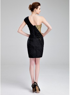 Sheath/Column One-Shoulder Short/Mini Chiffon Sequined Cocktail Dress With Ruffle Beading