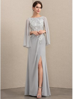 Scoop Neck Floor-Length Chiffon Sequined Mother of the Bride Dress With Split Front