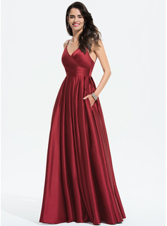 Satin Prom Dresses With Ruffle Pockets