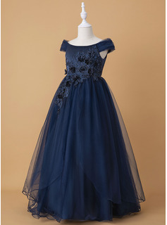 Ball-Gown/Princess Floor-length Flower Girl Dress - Tulle Lace Sleeveless Off-the-Shoulder With Beading Flower(s)