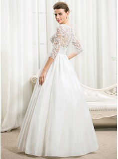 Ball-Gown V-neck Floor-Length Taffeta Wedding Dress With Ruffle Beading Sequins