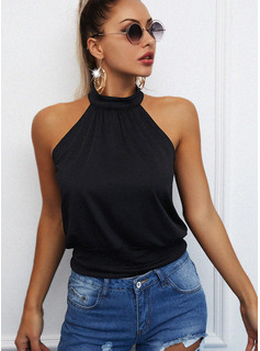 Regular Cotton Blends Stand collar Solid Fitted Blouses