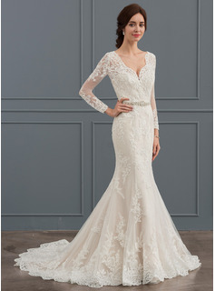 Trumpet/Mermaid V-neck Court Train Tulle Wedding Dress With Beading