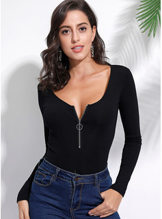 Long Sleeves Polyester Round Neck Knit T-shirt Blouses