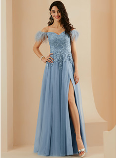A-Line Off-the-Shoulder Floor-Length Tulle Prom Dresses With Feather Split Front