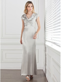 Sheath/Column Cowl Neck Ankle-Length Charmeuse Mother of the Bride Dress With Lace
