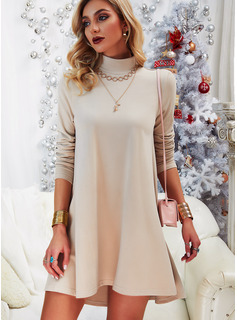 Solid Shift High Neck Long Sleeves Midi Casual Tunic Dresses