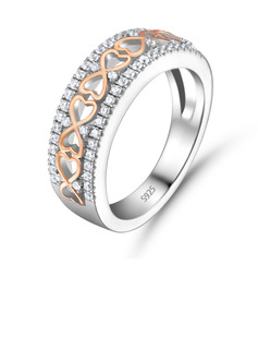 Symbols Of Love Eternity Round Cut 925 Silver Women's Bands