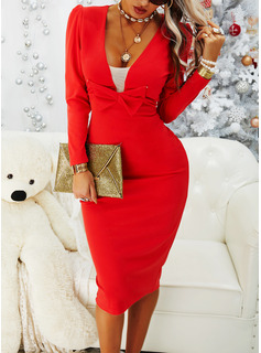 Solid Bodycon V-Neck Long Sleeves Puff Sleeves Midi Elegant Little Black Party Pencil Dresses