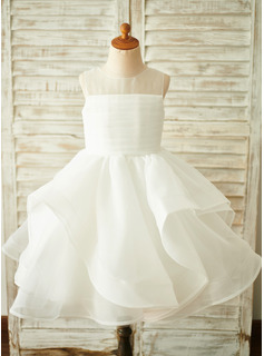 Knee-length Flower Girl Dress - Organza Sleeveless Scoop Neck