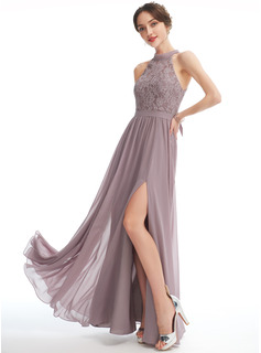 A-Line Halter Floor-Length Bridesmaid Dress With Split Front