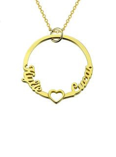 Custom 18k Rose Gold Plated Two Circle Necklace With Heart -