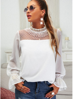 Regular Fitted Lace Solid Elegant Long Sleeves