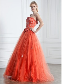 Ball-Gown Strapless Floor-Length Tulle Quinceanera Dress With Ruffle Beading Appliques Lace