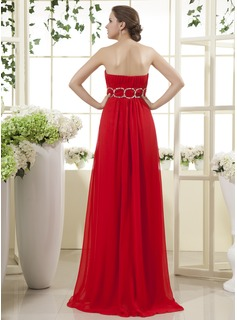 Empire Strapless Floor-Length Chiffon Holiday Dress With Ruffle Beading Split Front