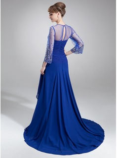 A-Line/Princess V-neck Court Train Chiffon Mother of the Bride Dress With Ruffle Beading Sequins
