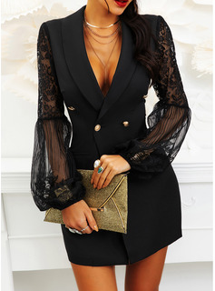 Lace Solid Sheath Suit Collar Long Sleeves Flare Sleeve Midi Casual Little Black Dresses