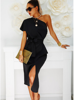 Solid Bodycon One Shoulder Short Sleeves Midi Party Sexy Dresses