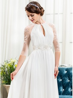 A-Line/Princess Scoop Neck Sweep Train Chiffon Evening Dress With Ruffle Beading Sequins