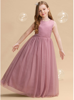 Ball-Gown/Princess Floor-length Flower Girl Dress - Satin/Tulle Sleeveless Scoop Neck With Bow(s)/Back Hole
