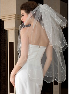 Three-tier Fingertip Bridal Veils With Scalloped Edge