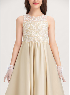 Scoop Neck Floor-Length Satin Lace Junior Bridesmaid Dress