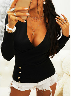 Regular Solid Button Up Casual Long Sleeves