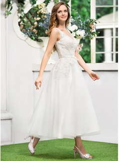 A-Line/Princess V-neck Tea-Length Tulle Lace Wedding Dress With Bow(s)