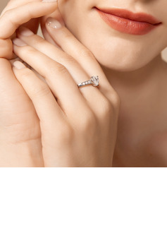 Halo Heart Cut 925 Silver Promise Rings
