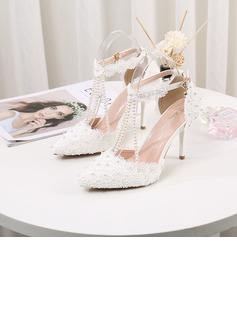 Women's Leatherette Stiletto Heel Pumps With Pearl Chain