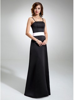 A-Line/Princess Floor-Length Satin Bridesmaid Dress With Sash
