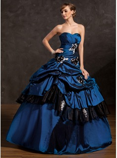 Ball-Gown Sweetheart Floor-Length Taffeta Quinceanera Dress With Ruffle Beading Appliques Lace Flower(s) Sequins