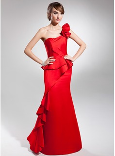 Trumpet/Mermaid One-Shoulder Floor-Length Satin Prom Dresses With Cascading Ruffles