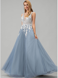 A-Line V-neck Floor-Length Tulle Prom Dresses With Lace