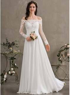 Off-the-Shoulder Floor-Length Chiffon Wedding Dress