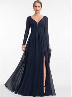 V-neck Floor-Length Chiffon Evening Dress With Split Front
