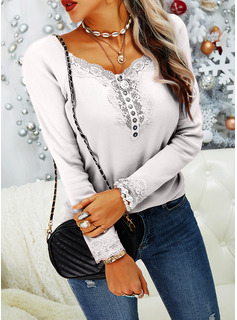Regular Tight Lace Solid Button Up Casual Long Sleeves