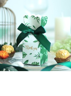 Pretty Floral Theme Cuboid Card Paper Favor Bags With Ribbons (Set of 24)