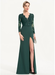 Sheath/Column V-neck Floor-Length Stretch Crepe Evening Dress With Sequins Split Front