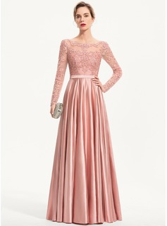 A-Line Scoop Neck Floor-Length Charmeuse Prom Dresses With Sequins