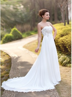 Empire Sweetheart Court Train Chiffon Wedding Dress With Ruffle Lace Beading