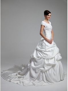 Ball-Gown Scoop Neck Cathedral Train Satin Wedding Dress With Lace Beading Sequins Bow(s)