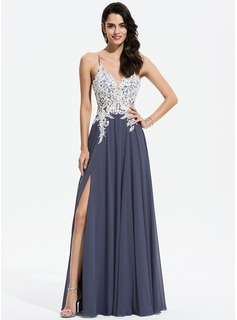 V-neck Floor-Length Chiffon Prom Dresses With Lace Beading Sequins Split Front