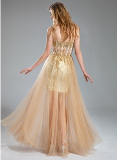 A-Line/Princess Sweetheart Floor-Length Tulle Sequined Prom Dress With Beading