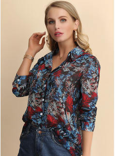 Long Sleeves Cotton Blends Polyester Lapel Blouses