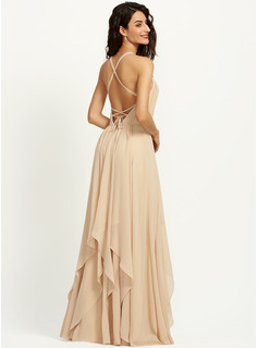 A-Line V-neck Floor-Length Bridesmaid Dress With Ruffle