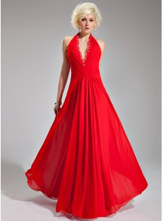 A-Line/Princess Halter Floor-Length Chiffon Evening Dress With Ruffle Lace Beading